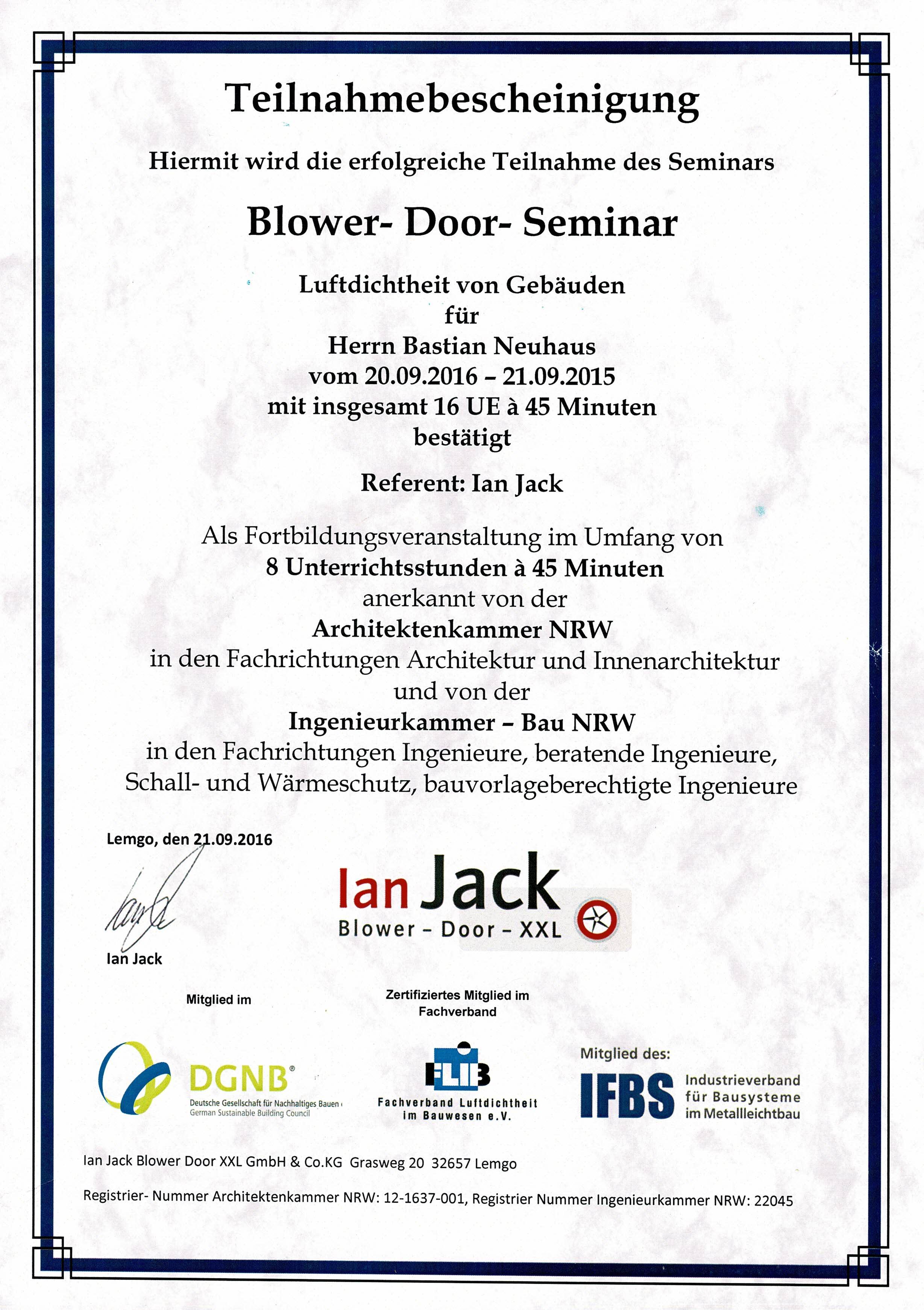 Ian Jack Blower Door XXL